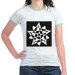 Wht on Blk Pentagram Flower Jr. Ringer T-Shirt