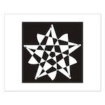 Wht on Blk Pentagram Flower Small Poster