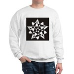 Wht on Blk Pentagram Flower Sweatshirt