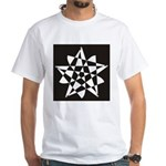 Wht on Blk Pentagram Flower White T-Shirt