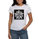 Wht on Blk Pentagram Flower Women's T-Shirt