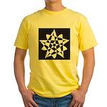 Wht on Blk Pentagram Flower Yellow T-Shirt