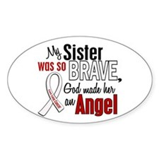 Angel 1 SISTER Lung Cancer Oval Decal