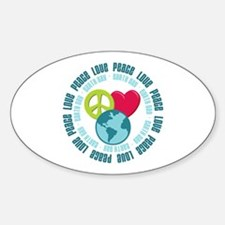 Peace Love Earth Day Oval Decal