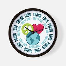 Peace Love Earth Day Wall Clock