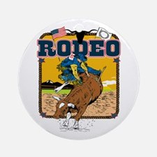 Rodeo Bull Ride Ornament (Round)