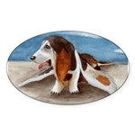 Bewinged Basset Oval Sticker