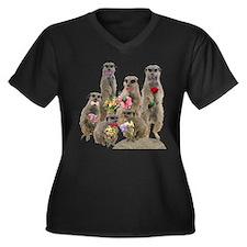 Meerkat Women's Plus Size V-Neck Dark T-Shirt