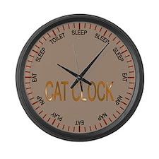 cat clock Large Wall Clock