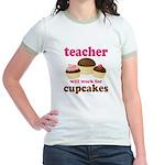 Funny Cupcake Teacher Jr. Ringer T-Shirt