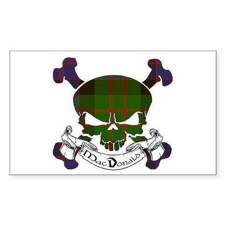 MacDonald Tartan Skull Sticker (Rectangle)