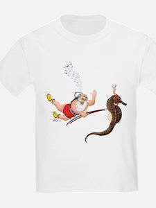 Scuba Diving Santa & Seahorse Reindeer Kids Tshirt