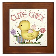 Cute Chick Framed Tile