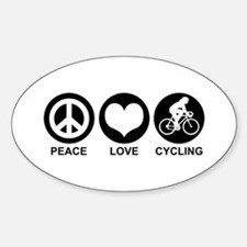 Peace Love Cycling (Female) Oval Decal