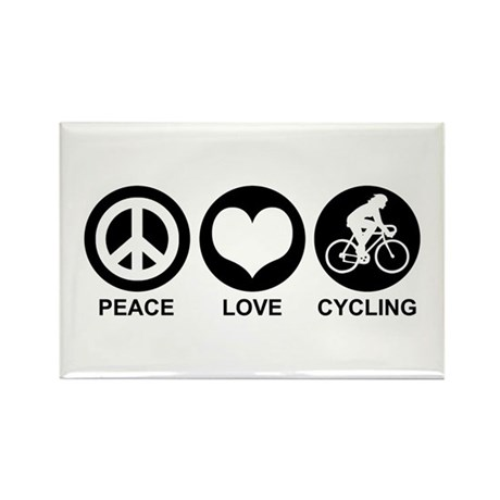 Peace Love Cycling (Female) Rectangle Magnet