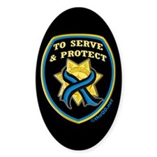 Thin Blue Line Serve Protect Oval Decal
