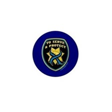Thin Blue Line Serve Protect Mini Button