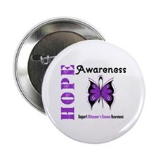 """Alzheimer'sDisease Butterfly 2.25"""" Button (100 pac"""