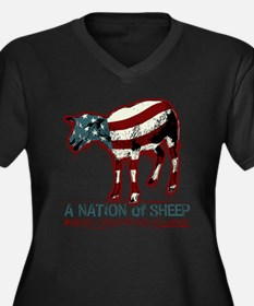 A Nation of Sheep Women's Plus Size V-Neck Dark T-
