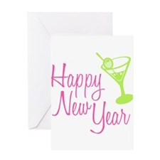 Happy New Year: Martini Greeting Card