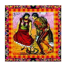 Vintage Jarabe Tapatio Loteri Tile Coaster