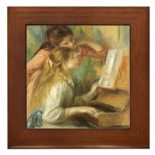 Young Girls at the Piano by Renoir Framed Tile