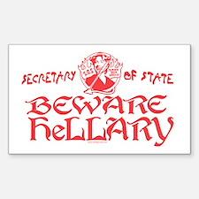 SOS Beware Hillary Rectangle Decal