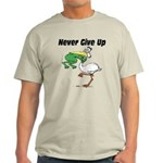 Never Give Up Stork and Frog Light T-Shirt