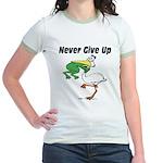 Never Give Up Stork and Frog Jr. Ringer T-Shirt