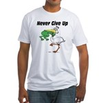 Never Give Up Stork and Frog Fitted T-Shirt