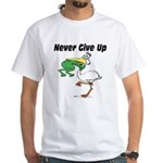 Never Give Up Stork and Frog White T-Shirt