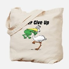 Never Give Up Stork and Frog Tote Bag