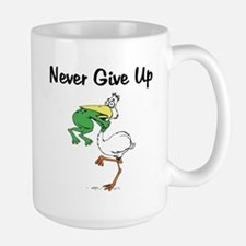 Never Give Up Stork and Frog Large Mug
