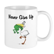 Never Give Up Stork and Frog Mug