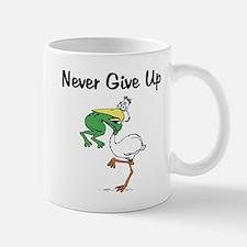 Never Give Up Stork and Frog Mug