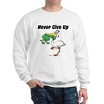 Never Give Up Stork and Frog Sweatshirt