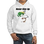 Never Give Up Stork and Frog Hooded Sweatshirt