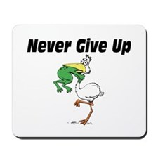 Never Give Up Stork and Frog Mousepad
