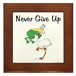 Never Give Up Stork and Frog Framed Tile