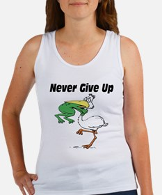 Never Give Up Stork and Frog Women's Tank Top