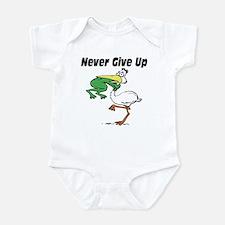Never Give Up Stork and Frog Infant Bodysuit