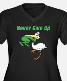 Never Give Up Stork and Frog Women's Plus Size V-N