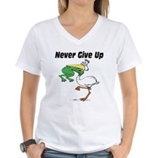 Never Give Up Stork and Frog Shirt