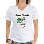 Never Give Up Stork and Frog Women's V-Neck T-Shir