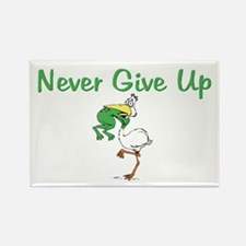 Never Give Up Stork and Frog Rectangle Magnet (10