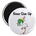 Never Give Up Stork and Frog Magnet