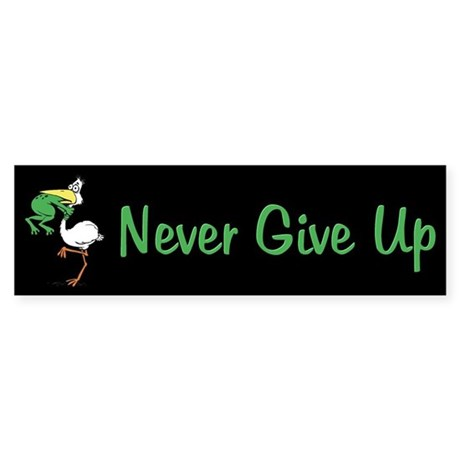Never Give Up Stork and Frog Sticker (Bumper)