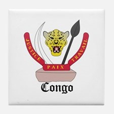 Congolese Coat of Arms Seal Tile Coaster