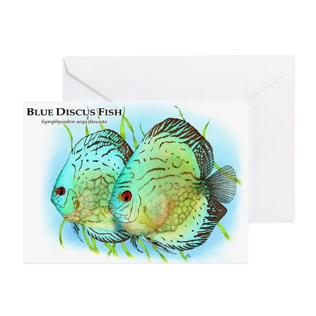 Blue Discus Fish Greeting Cards (Pk of 10)