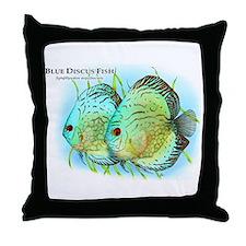 Blue Discus Fish Throw Pillow